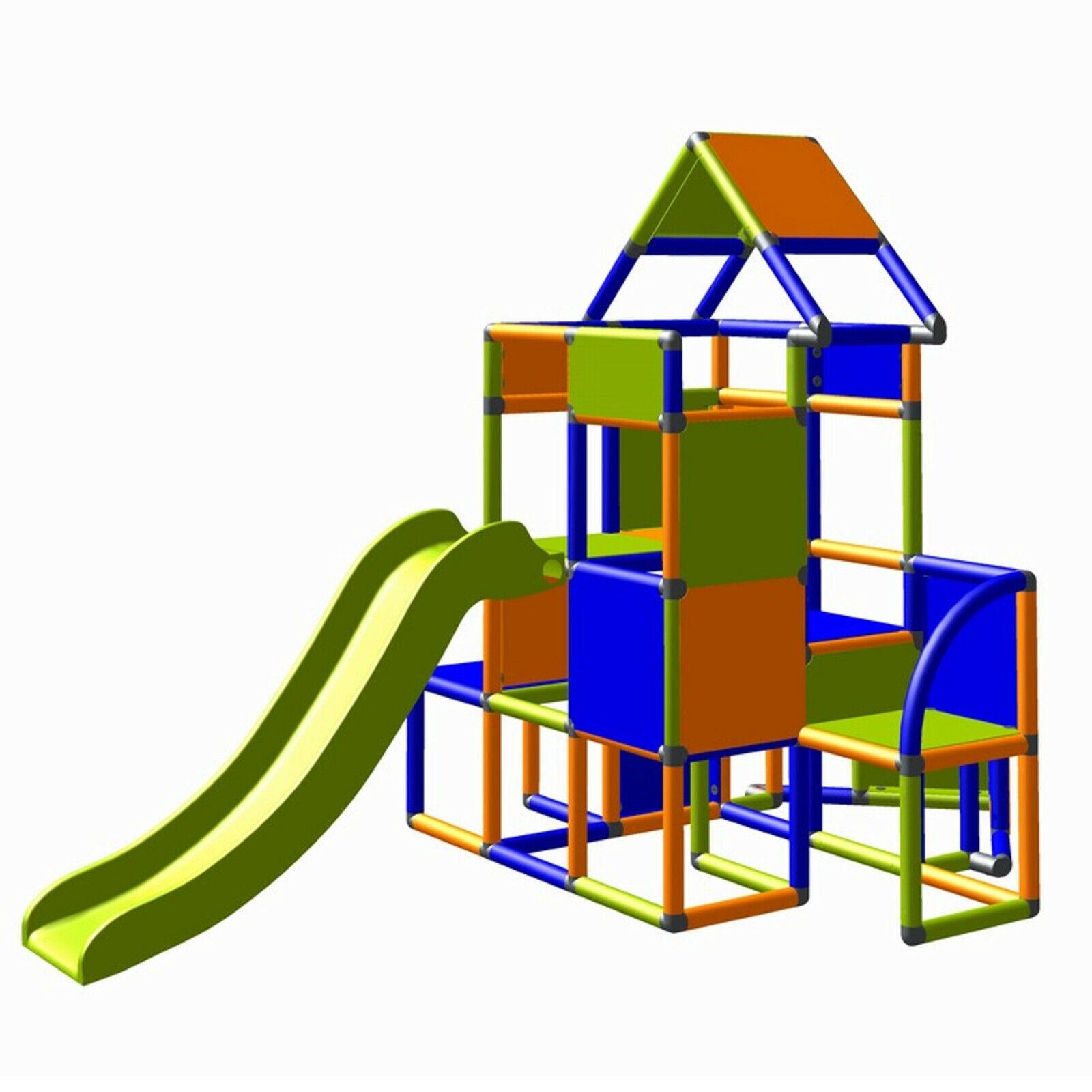 Move and stic großer Spielturm Lisa Rutsche Kletterturm Orange blau apfelgrün