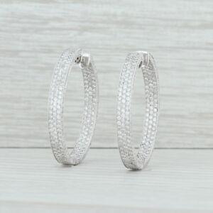 2-50ctw-Diamond-Inside-Out-Hoop-Earrings-18k-White-Gold-32-8mm-Pierced-Women-039-s