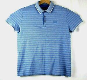 Hugo-Boss-Homme-Taille-Moyenne-Reg-Fit-en-coton-a-rayures-Bleu-Polo-Shirt