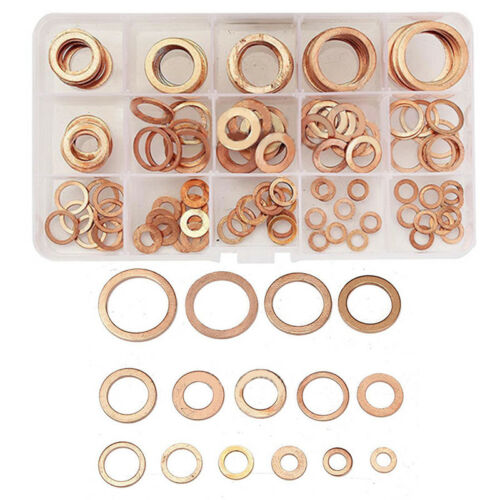 150Pcs M5-M22 Assorted Solid Copper Crush Washers Seal Flat Oil Brake Ring Kit