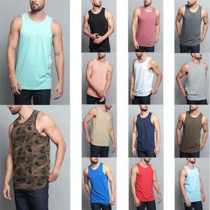 8b3832fb63438 Men s Basic Straight Hem Long Length Tank Top Sleeveless T-shirts S ...