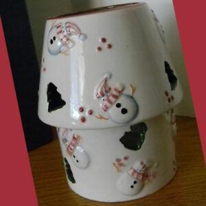 2-Pc-Snowmen-amp-Christmas-Tree-Cutouts-Tea-Light-Votive-Candle-Holder-with-Shade