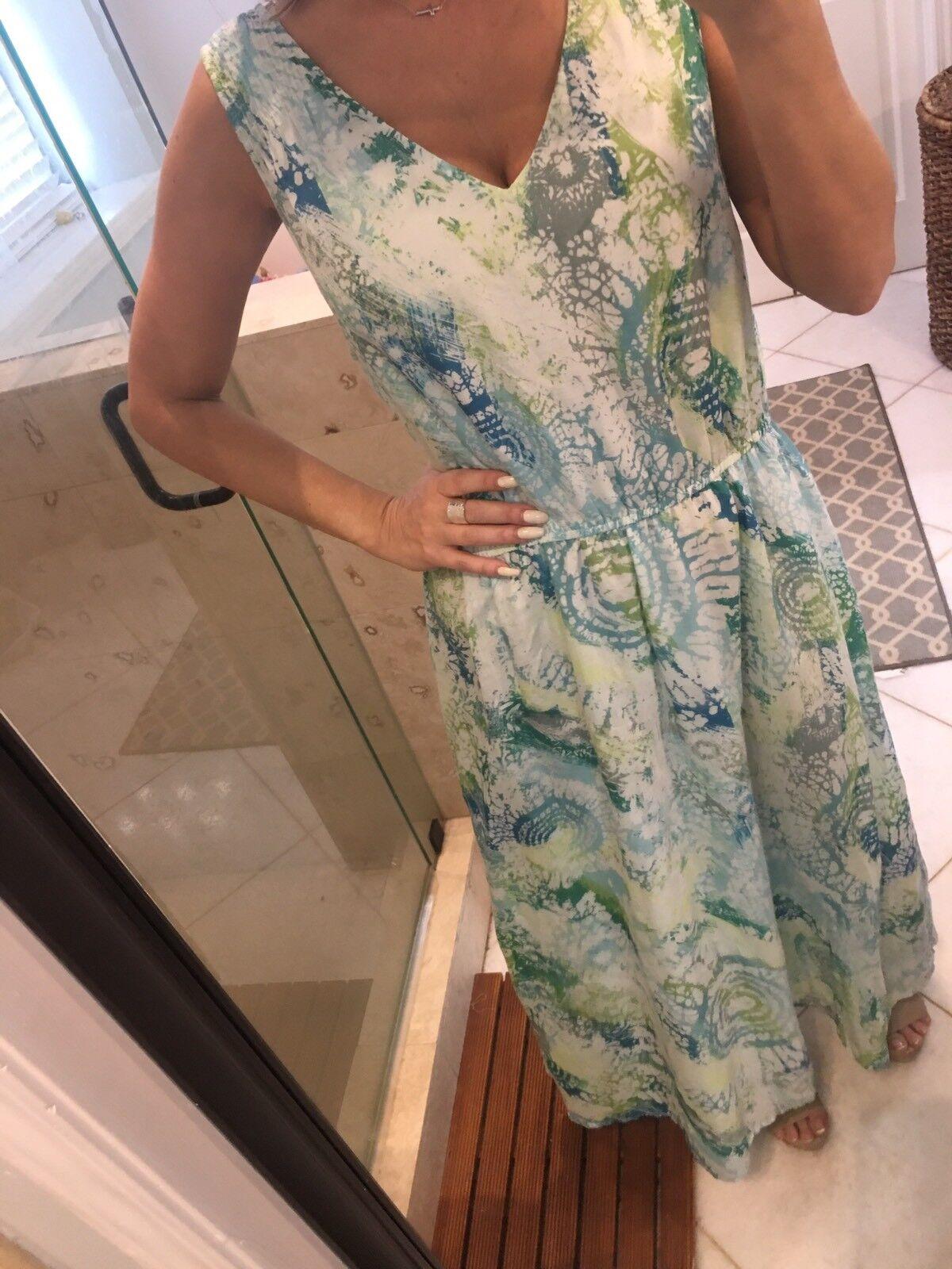 Women's J. Jill Boho bluee Floral Print Sleeveless Maxi Dress Silk XL NEW