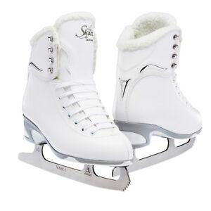 New-Jackson-180-JS180-SoftSkate-Women-039-s-White-Fleece-Figure-Ice-Skates