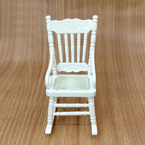 White-Wood-Rocking-Chair-for-1-12-Doll-House-Living-Room-Decor-Tool