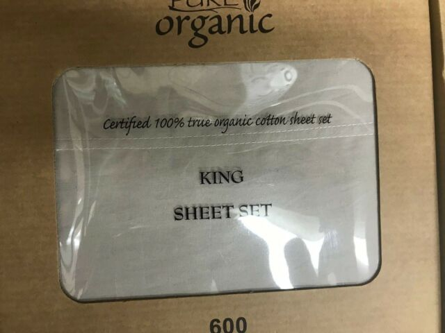 100% Organic Cotton 4pcs  Bed Sheet Set 600 TC, Light Gray King Size