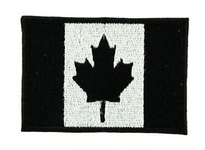 Patch écusson PETIT Drapeau CANADA NOIR CANADIEN Airsoft Thermocollant Backpack