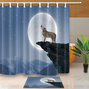 Wolf howl Shower Curtain Bathroom Decor Waterproof Fabric & 12hooks 71*71inches