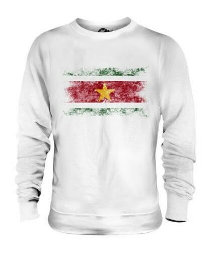 SURINAME DISTRESSED FLAG UNISEX SWEATER TOP SURINAMESE SHIRT FOOTBALL JERSEY