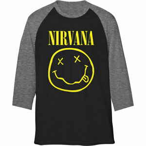 Nirvana-039-Classic-Logo-039-Raglan-Sleeve-T-Shirt-Official-Merchandise