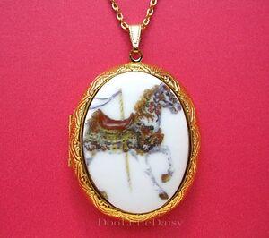 Porcelain-Carnival-CAROUSEL-HORSE-CAMEO-Locket-Pendant-Necklace-Birthday-Gift