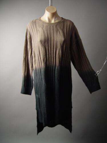 Ombre Brown Black Asymmetric High Low Hem Cable Knit Jumper Sweater 214 mv Dress
