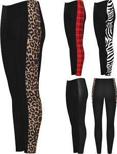 Womens-Print-Side-Stripe-High-Waist-Leggings-Ladies-Animal-Wet-Look-Tartan-8-20