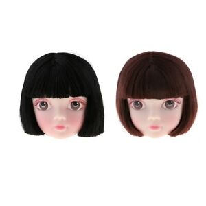 Makeup Doll Styling Head 1//6 Scale BJD Doll Parts with Brown Short Hair Wig
