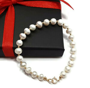 Womens-9ct-Yellow-Gold-Bracelet-with-Natural-White-Pearls-and-Gold-Beads