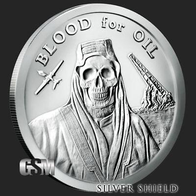 Silver Shield MiniMintage  Blood For Oil .999 fine silver shield Bu