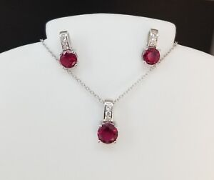 925-Sterling-Silver-Round-Red-Ruby-Cz-Pendant-Chain-Necklace-Stud-Earrings-Set
