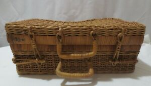 Vtg Suitcase Style Decorative Basket Woven Wicker Rattan Storage Picnic 10x14