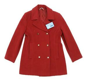 Marks-amp-Spencer-Womens-Size-8-Wool-Blend-Red-Peacoat