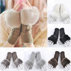 Women-Winter-Fur-Woolen-Knitted-Fingerless-Trim-Gloves-Arm-Wrist-Warmer-Gloves