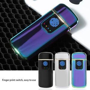 USB-Rechargeable-Fingerprint-Electric-Lighter-Windproof-Flameless-Power-Display
