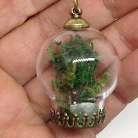 Metaphysical Terrarium Bubble Glass Pendant Necklace Green Aventurine