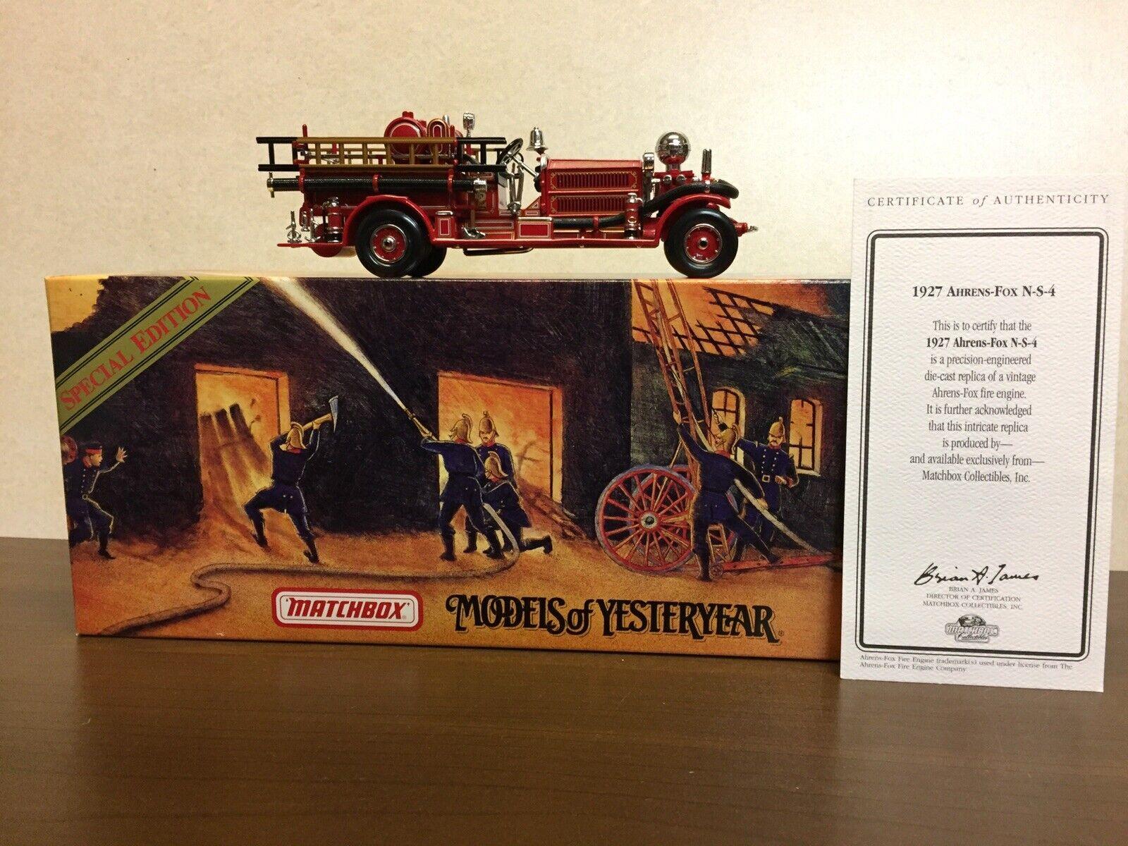 MatchBox Modellls of yesteryear YSFE 04 Ahrens &Fox N-S-4 ,Fire Engine