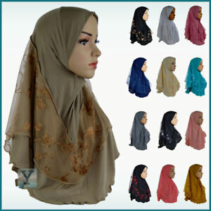 1 Piece Hijab lace stretch Jilbab Abaya Scarf pull on ready made instant