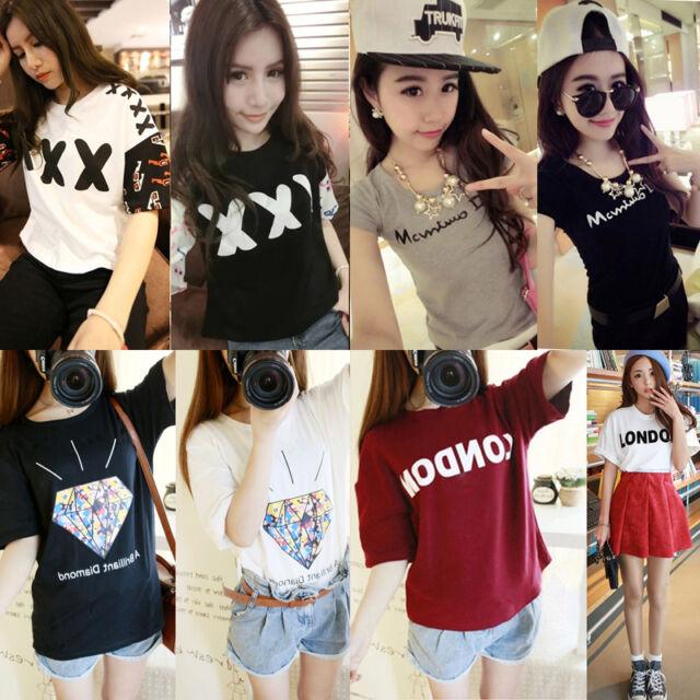 New Women's Cute Shirt Letters Cartoon T-shirt Casual Sports Short Sleeve Tops