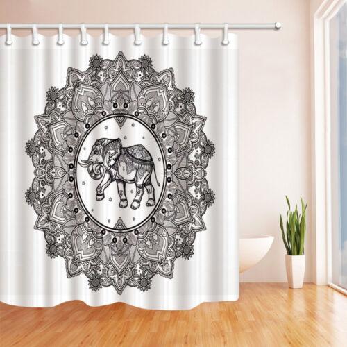 Bathroom Shower Curtain Mandala with Ethnic Elephant Black White 71 Inches Long