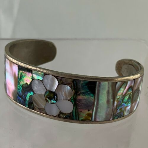 Stunning Vintage 1970/'s Chunky Alpaca Abalone Shell Panel Bracelet Cuff and Aztec Faces 53.93g