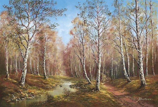 A.Buchner  Spring Spring Spring Time in The Taiga Barella-Immagine Schermo Foresta Alberi 00211a
