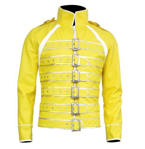 Nouveau Homme Freddie Mercury Wembley concert Jaune Veste de motard en cuir synthétique Manteau;