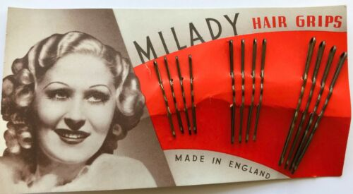 12 Milady Hair Grips 3 Size Bobby Pins Made in England Vintage Hair Barrettes
