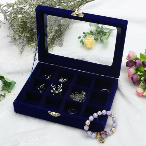 Samt Glas Schmuck Anzeige Organisierer Kiste Ablage Rack Ohrring Ring Lager Case