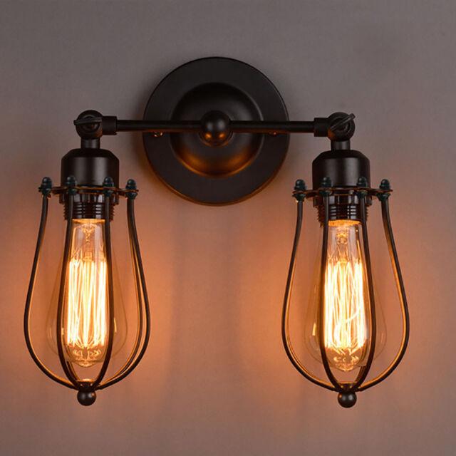 Vintage Industrial DIY Edison Wall Sconce Retro Metal Wall 1/2 Head Lamp Light