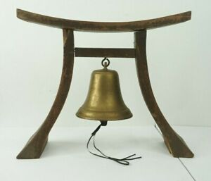 Japanese-Vintage-Buddhist-Temple-Hanging-Brass-Bell-Wooden-Stand