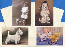 WESTIE TERRIER PACK OF 4 VINTAGE STYLE DOG PRINT GREETINGS NOTE CARDS #3