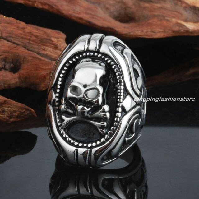 Fashion Jewelry Stainless Steel Silver Skull Pirate Men's Biker Ring Size 8-12