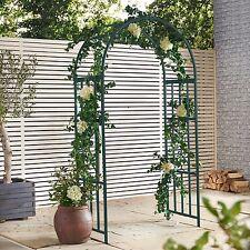 VonHaus Dark Green Metal Garden Arbor Trellis Arch Arbour Patio Outdoor  Steel