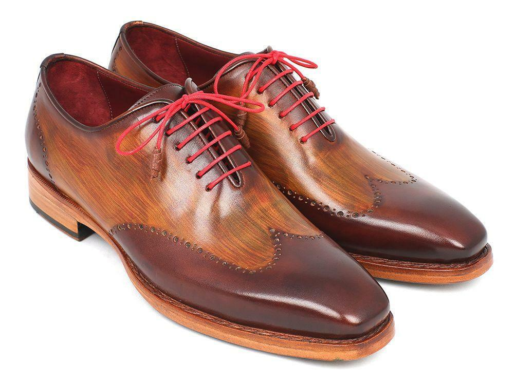 Paul Parkman Men's Wingtip Oxford Goodyear Welted Brown & Camel (ID 81BRW74)