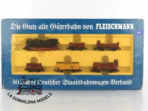 R144-ESCALA-N-FLEISCHMANN-7886-Zug-Set-Gute-alte-Guterbahn-mit-T-16-1-K-P-E-V