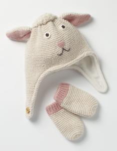 041778b4852 Baby Mini Boden Ecru Marl Lamb Novelty Hat Mitten Set Easter Sz 2-4Y ...