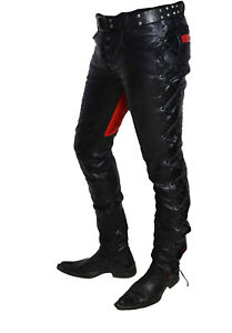 Men/'s Real Leather Bikers Pants Side And Front Laces Up Contrast Leather Pants
