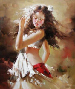 ZOPT583 100%  hand painted long hair dancing girl  oil painting home art canvas