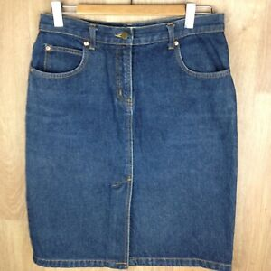 INNOVARE-Petites-Womens-Blue-Denim-Straight-Skirt-BNWOT-Size12-Split-At-Front