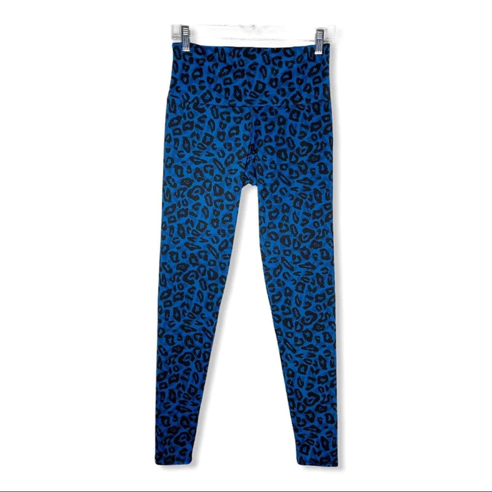 Onzie Blue Leopard Cheetah Print Athletic High Waisted Leggings Women's Size M/L