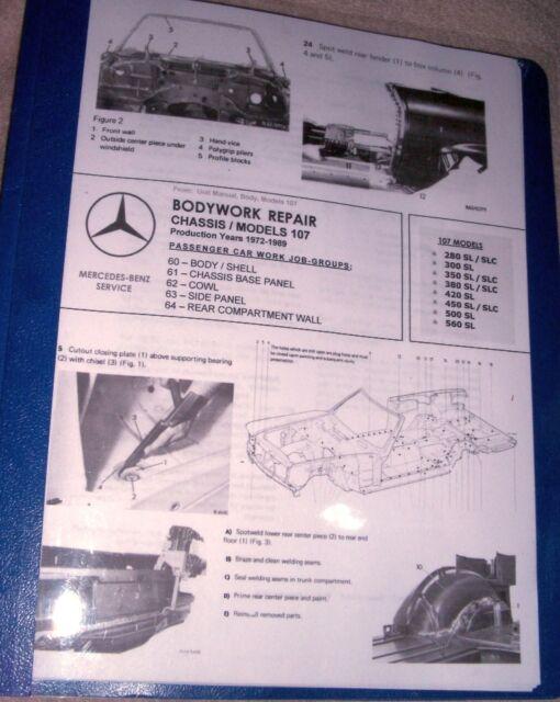 Mercedes Workshop Manual Bodywork Repair 107 R107 420sl   Frame Diagram 11 U0026quot X17 U0026quot