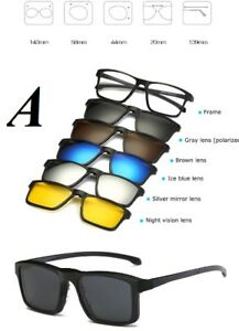 78a1796d59a8 New Optical Spectacle Frame Men Women With 5 Clip On Sunglasses ...