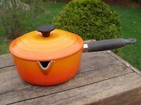 Le Creuset Enameled Cast Iron No. 18 Sauce Pan Pot Flame Orange w/ Lid